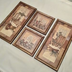 Framed Wall Art Bath Decor 4 Pieces